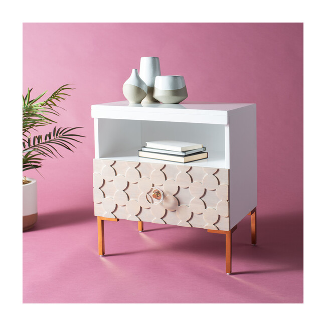 Sylvie 1 Drawer Side Table, White/Gold