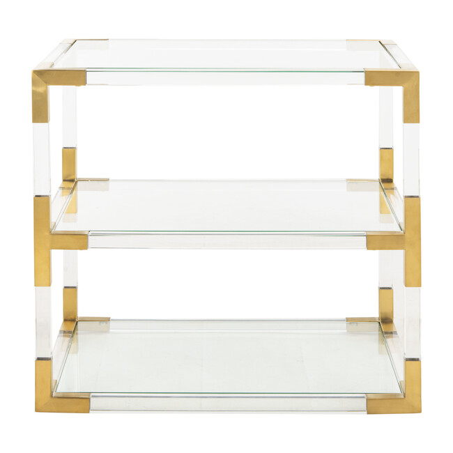 Louisa Acyrlic End Table, Brass