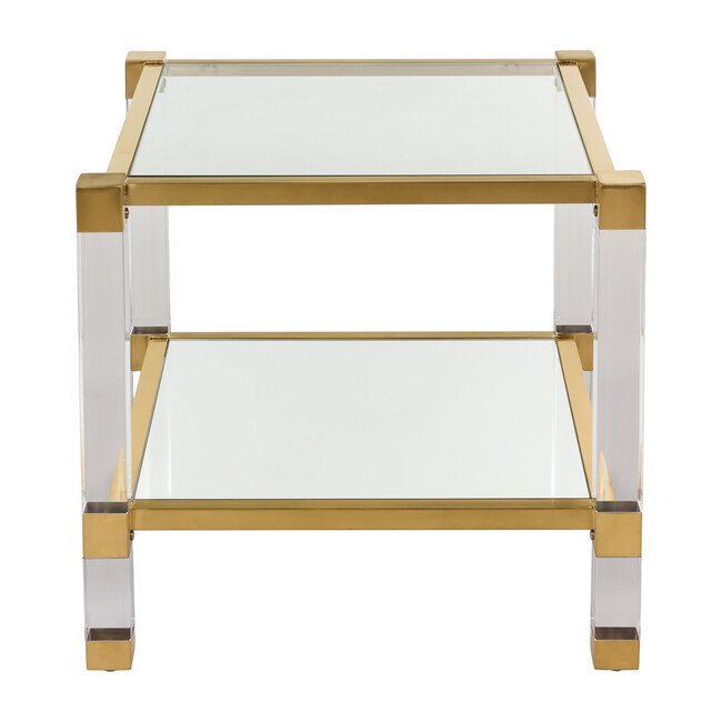 Angie Acyrlic End Table, Brass