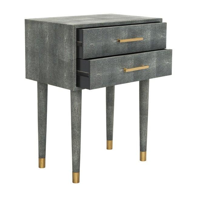 Nour Faux Shagreen End Table, Dark Grey