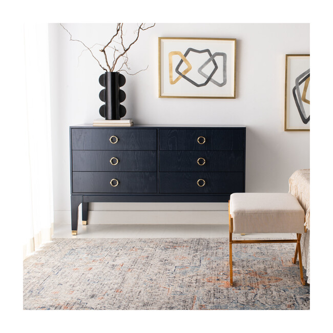 Lorna 6 Drawer Contemporary Dresser, Navy
