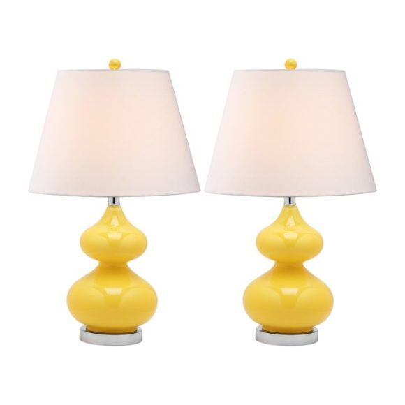 Set of 2 Eva Double Gourd Glass Lamps, Yellow