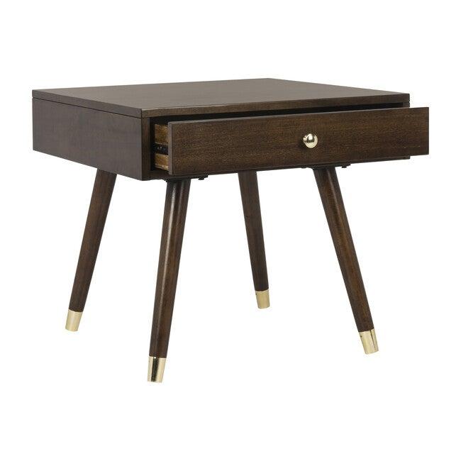 Levinson Gold Cap End Table, Brown