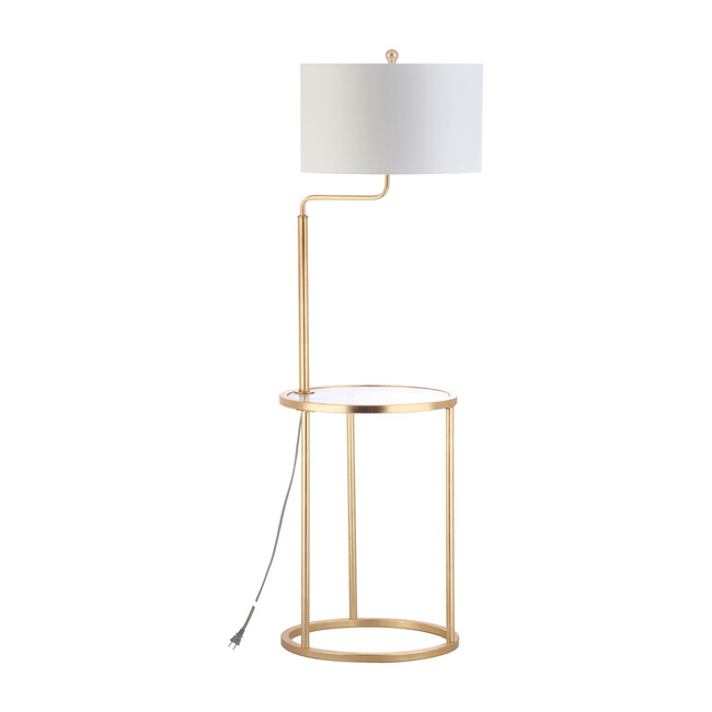 Crispin Floor Lamp Side Table, Gold
