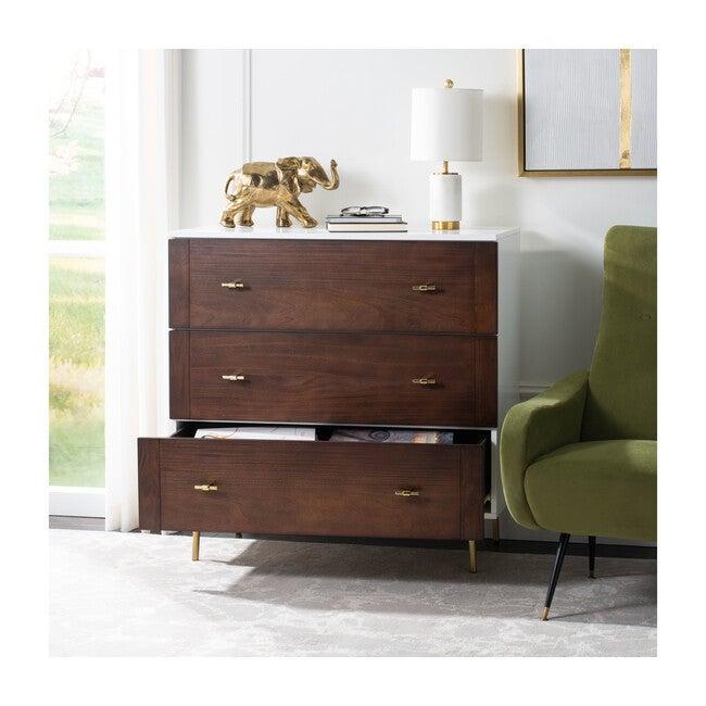 Genevieve 3 Drawer Dresser,  White/Walnut