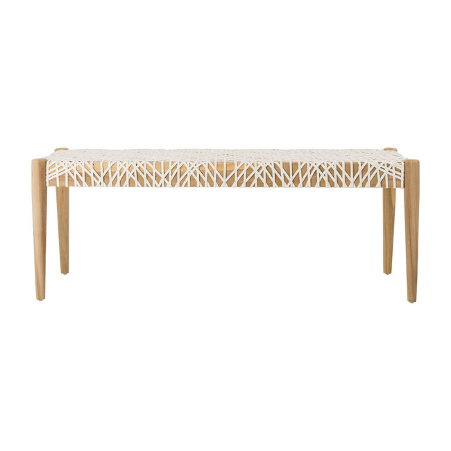 Bandelier Leather Weave Bench, Cream