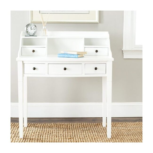 Landon 5-Drawer Desk, White Poplar