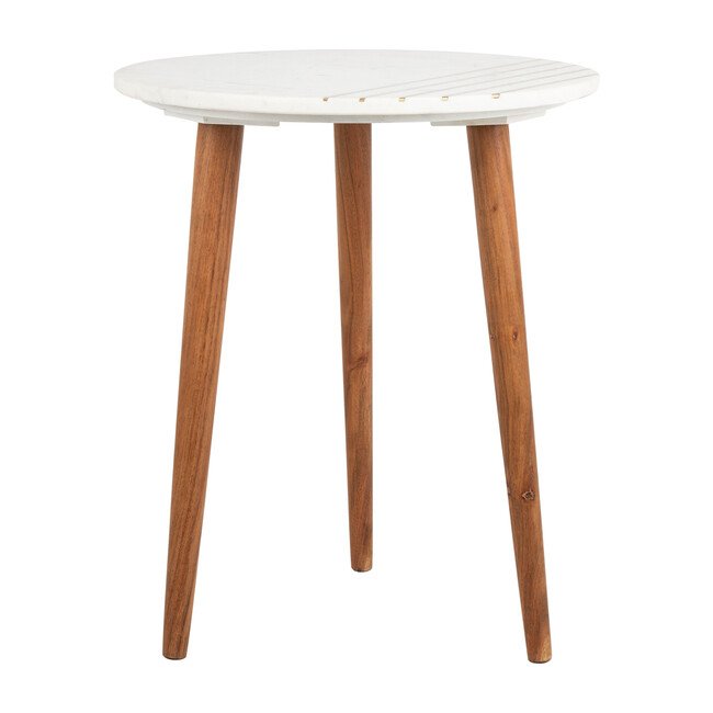Valerie Round Marble Accent Table, Brown Multi