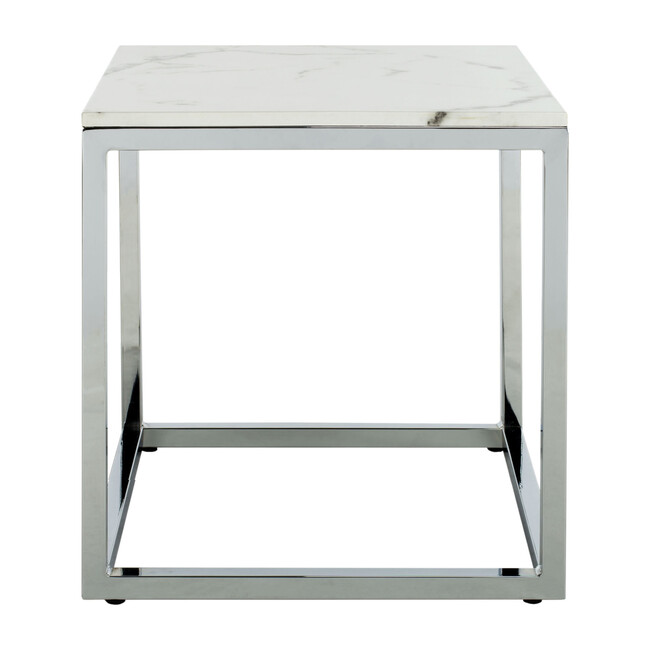 Bethany Square End Table, White/Gold