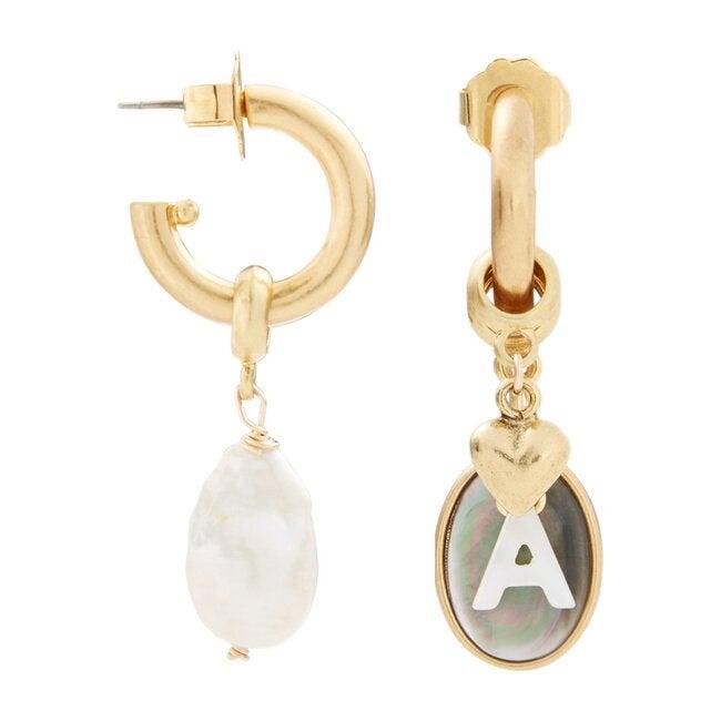 Persona Charm Letter Hoop Earrings
