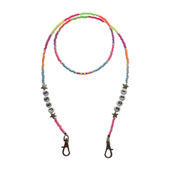 Personalized Beaded Mask Chain, Neon Multi