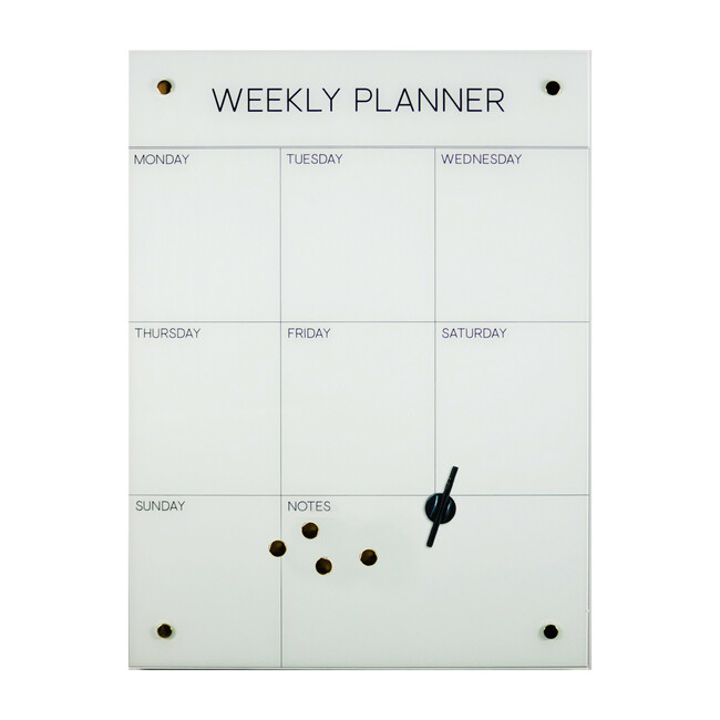 Weekly Planner Dry-Erase Board, Glass