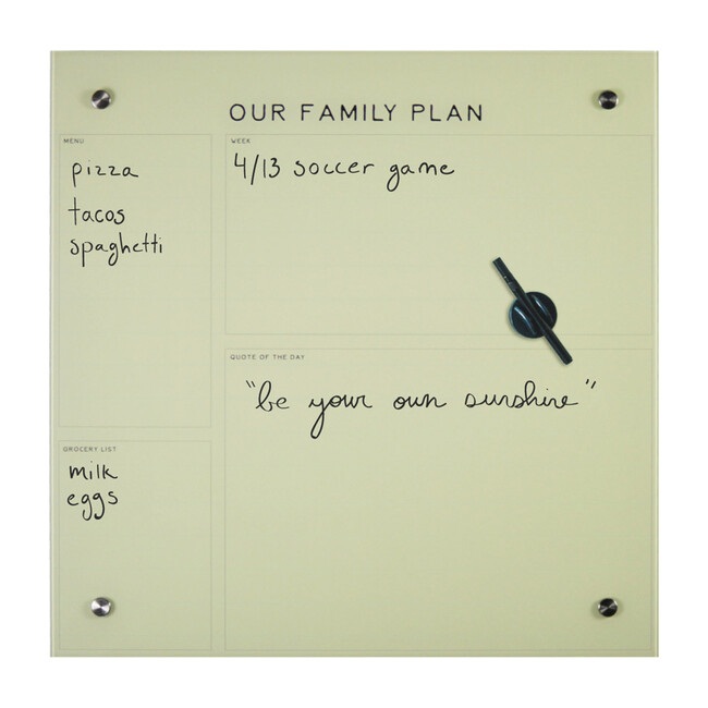 Our Family Plan Dry-Erase Board, Glass