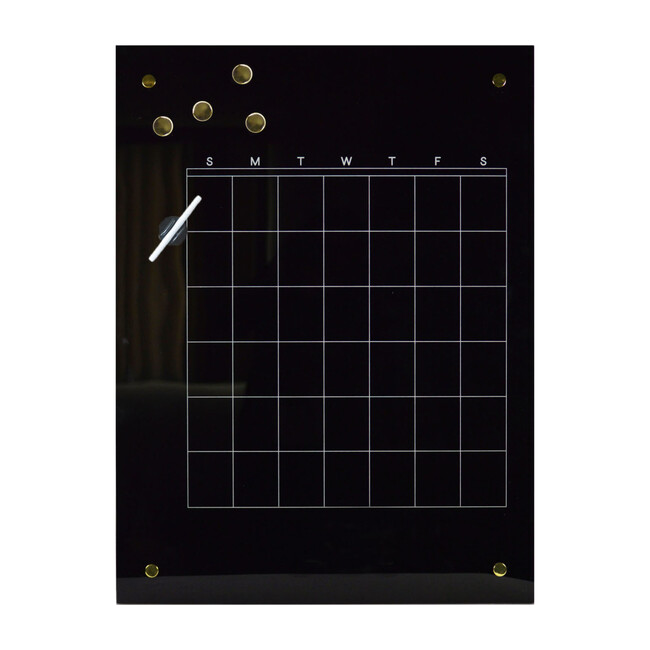 Monthly Planner Dry-Erase Board, Black Glass