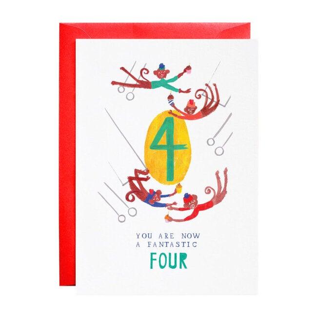 Four Mischievious Monkeys Birthday Card
