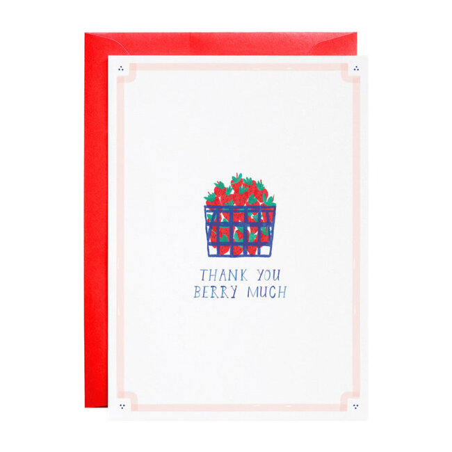 Set of 6 Thank You Cards, Basket of Berries