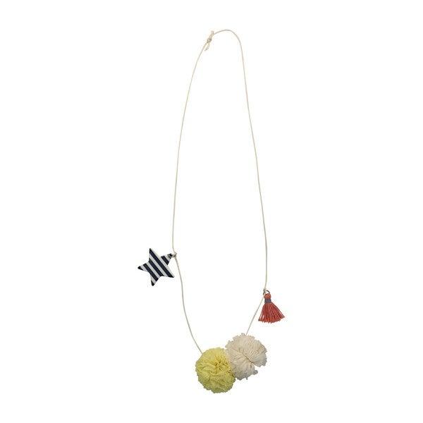 Tulle Pom Necklace, Navy