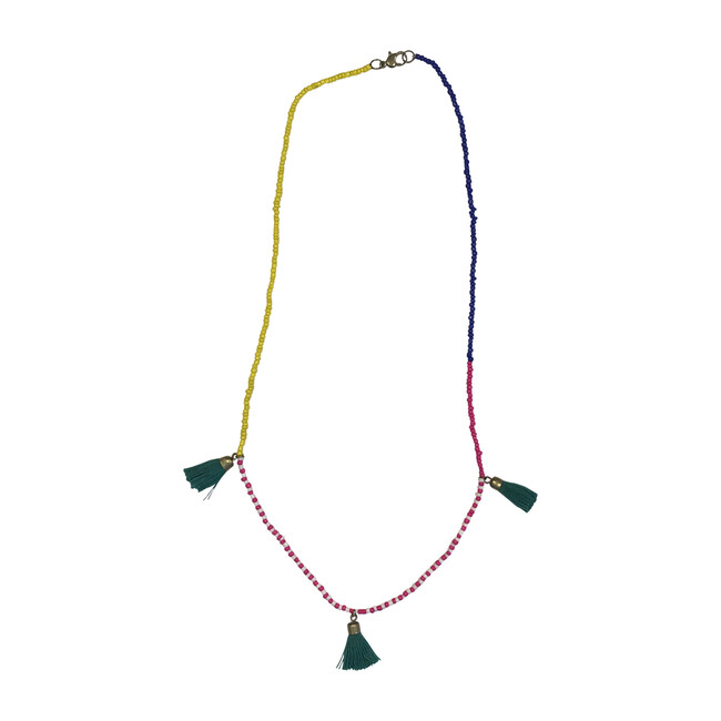 Beaded Tassel Necklace, Green