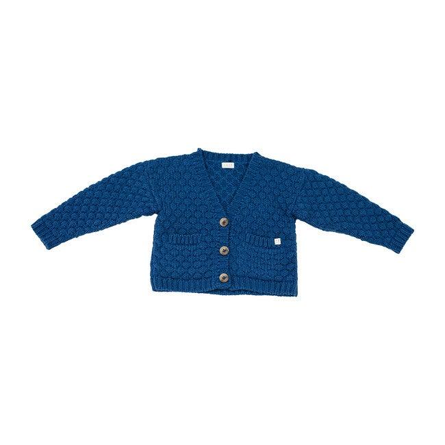 Alpaca Wool Cardigan, Blue - Sweaters - 1