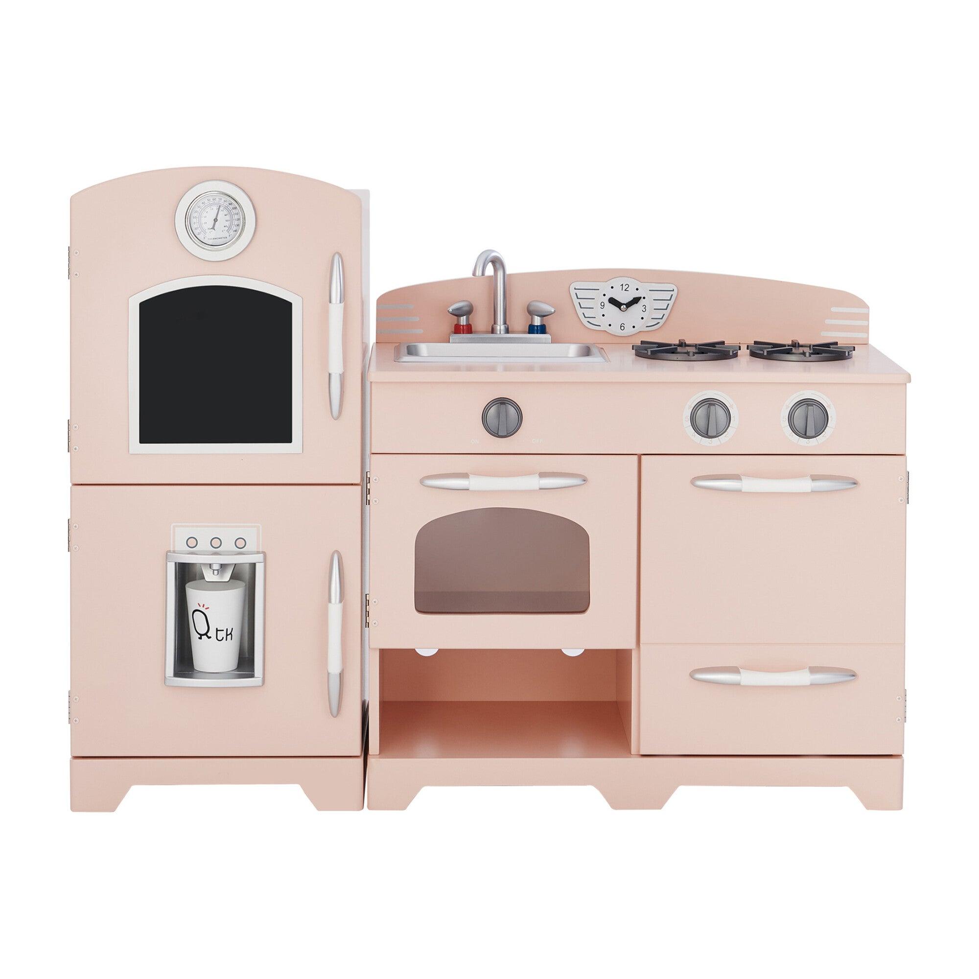 Little Chef Fairfield Retro Play Kitchen, Pink/White
