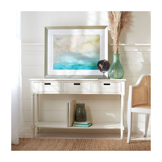Landers 3-Drawer Console, Distressed White