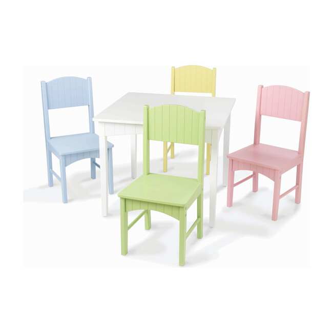 Nantucket Table and 4 Chair Set, Pastel