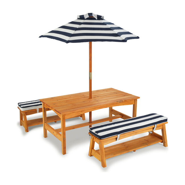 Outdoor Table and Bench Set with Cushions and Umbrella, Navy/White Stripes