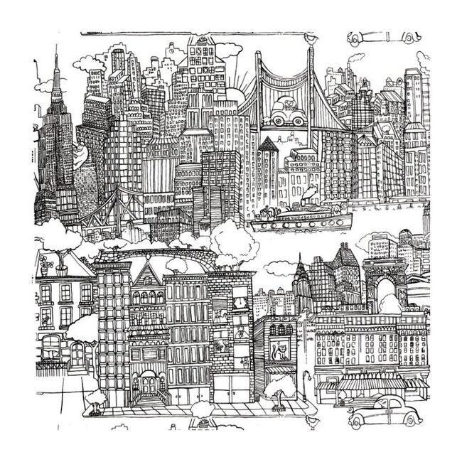 New York New York Wallpaper, Black/White