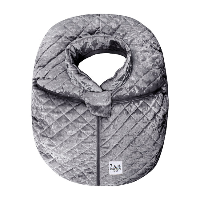 Car Seat Cocoon, Quilted Grey Velvet
