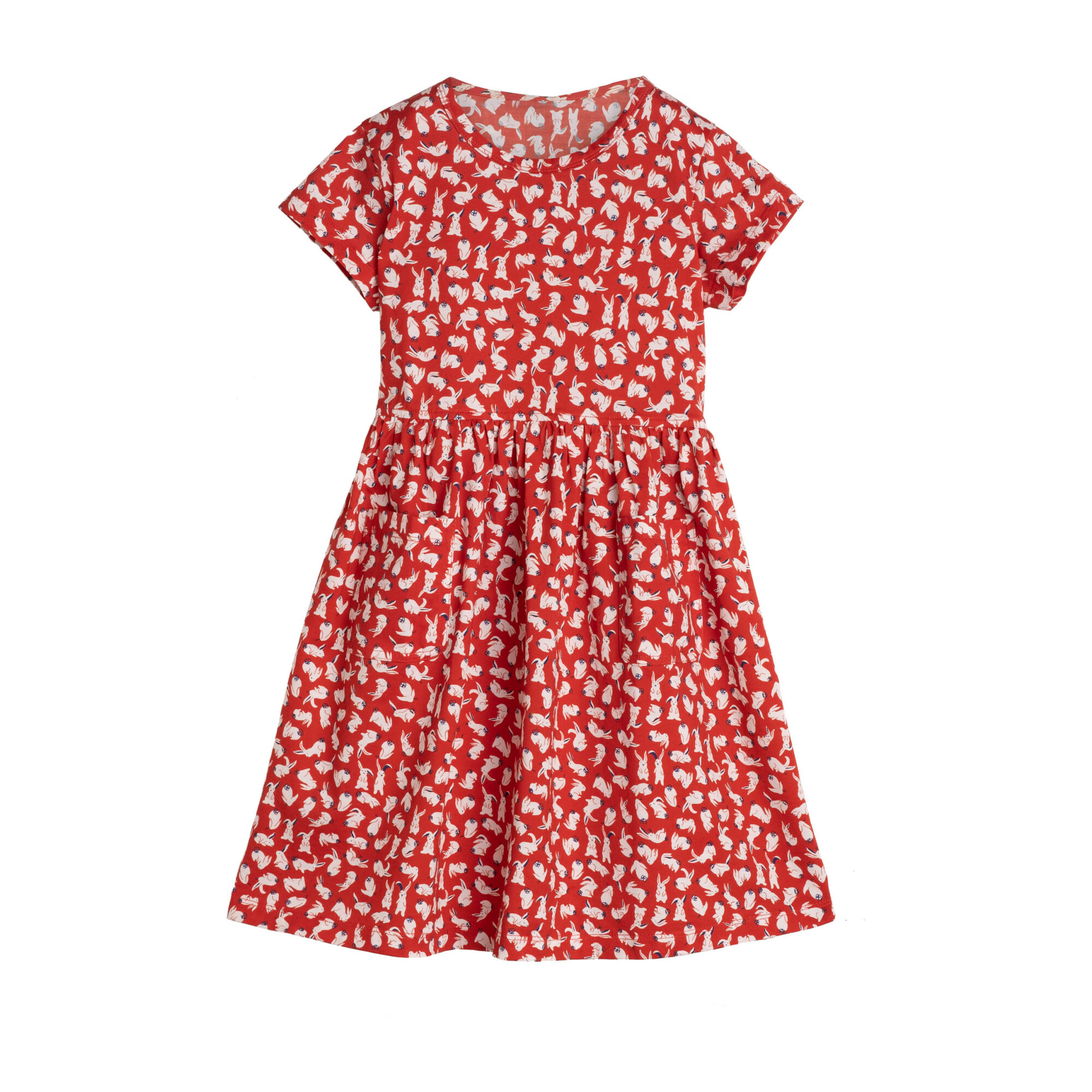 Pippa Jersey Dress, Red Scattered Bunnies
