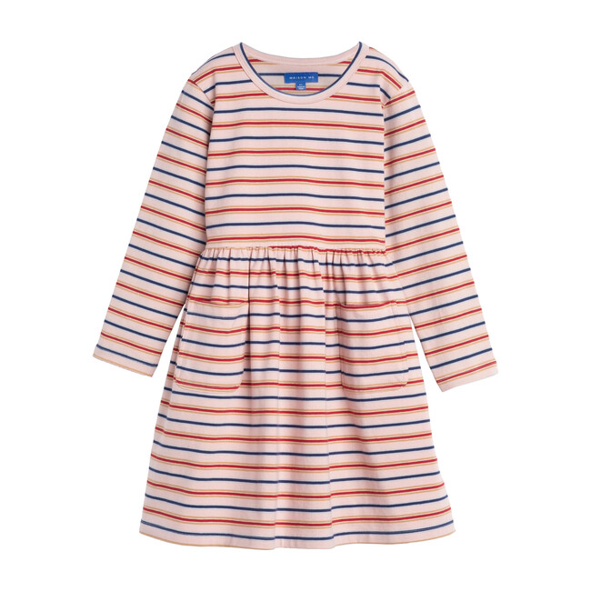 Marley Long Sleeve Jersey Dress, Dusty Rose Multi Stripe