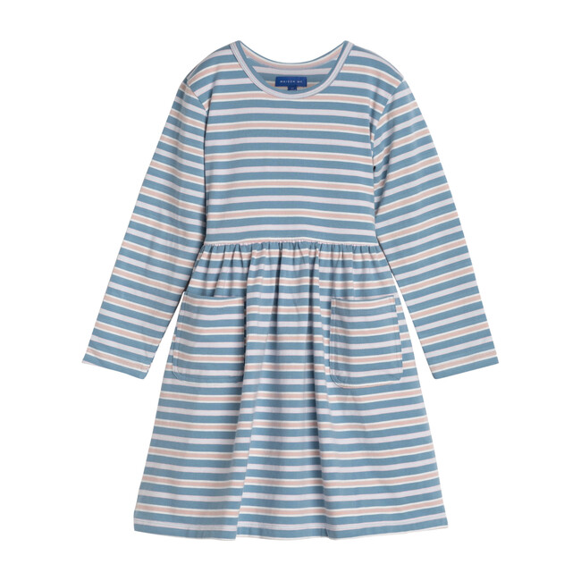 Marley Long Sleeve Jersey Dress, Powder Blue Multi Stripe