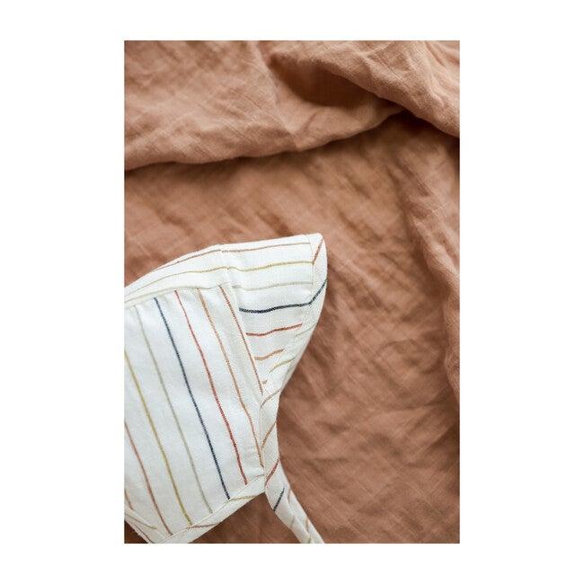 Brimmed Sunset Stripe Linen Bonnet