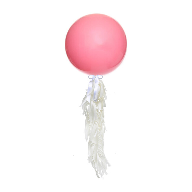 Solid Jumbo Balloon with White Frilly Tassel Kit, Rose Pink