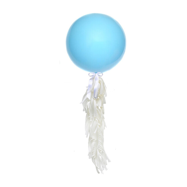 Solid Jumbo Balloon with White Frilly Tassel Kit, Light Blue