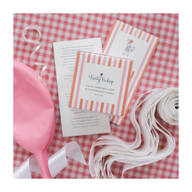 Solid Jumbo Balloon with White Streamer Tassel Kit, Light Pink