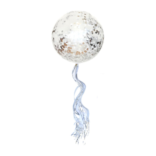 Confetti Balloon with Silver Streamer Tassel Kit, Silver Glam