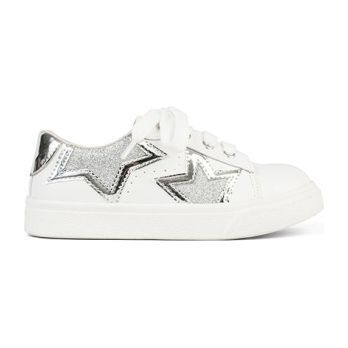 Miss Harper Lace Up Sneaker, Silver & White