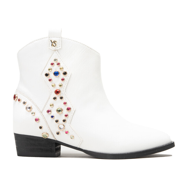 Miss Dallas Embellished Boot, White