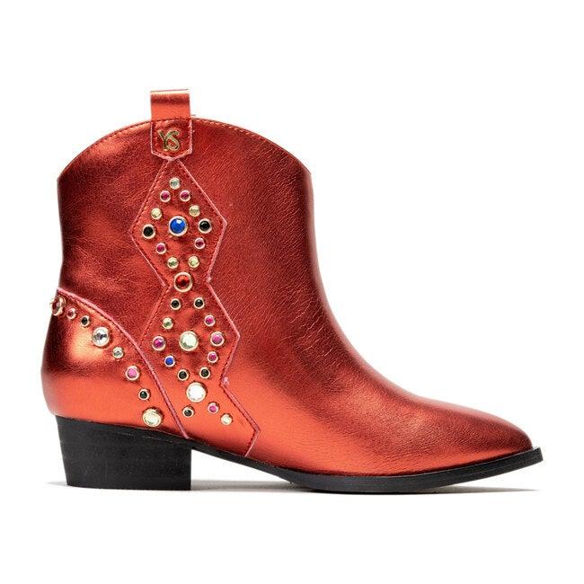 Miss Dallas Embellished Cowboy Boot, Red Metallic