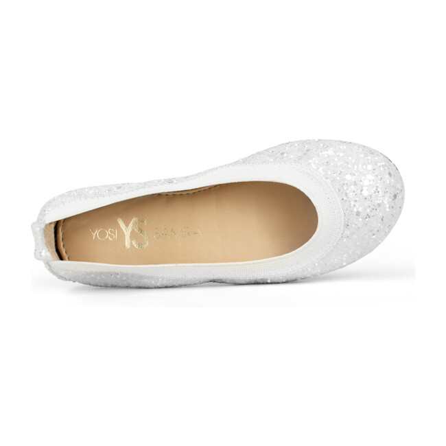 Miss Samara Flat, White Chunky Glitter