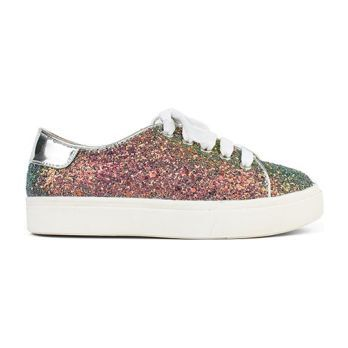 Miss Bowery Lace Up Sneaker, Irridescent Glitter