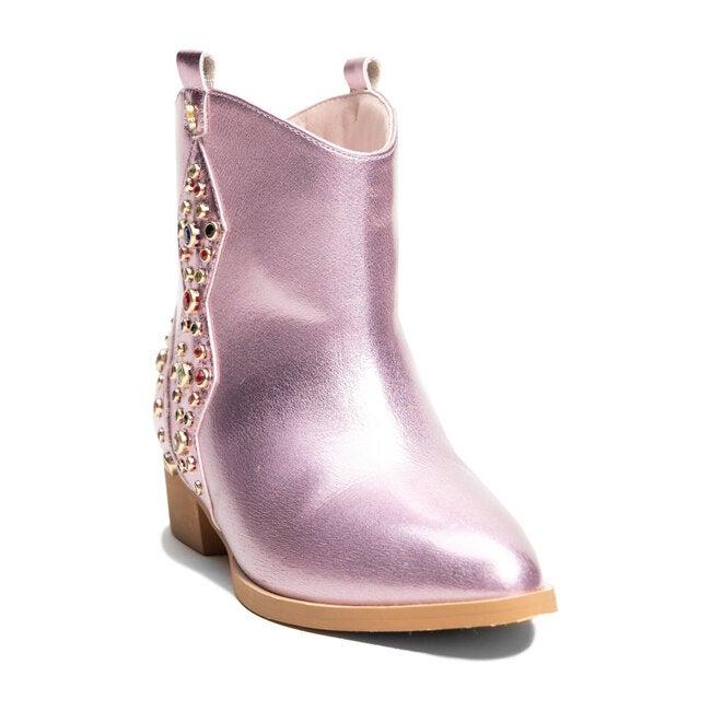 Miss Dallas Embellished Boot, Light Pink Metallic