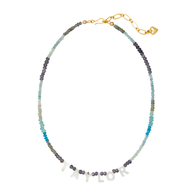 Say My Name Necklace, Blue Gemstone Ombre