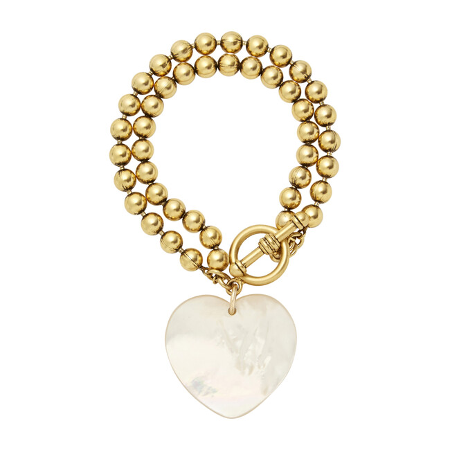 Heart On Your Sleeve Bracelet, Mother of Pearl