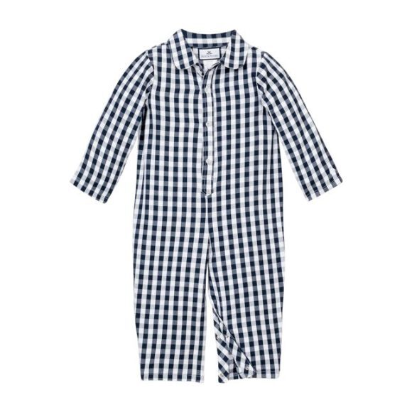 Navy Gingham Romper