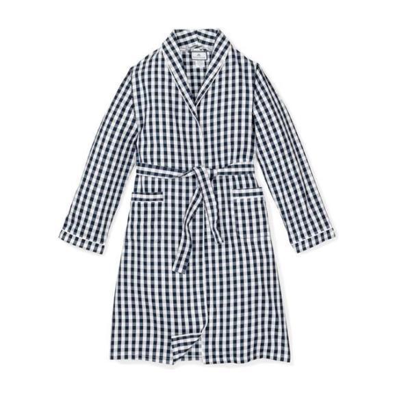 Women's Robe, Navy Gingham