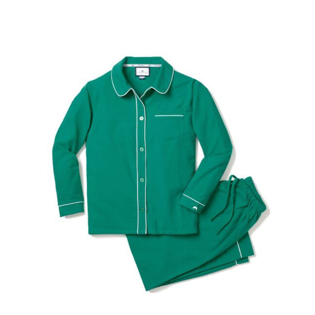 Women's Flannel Pajamas, Forest Green & Double Piping
