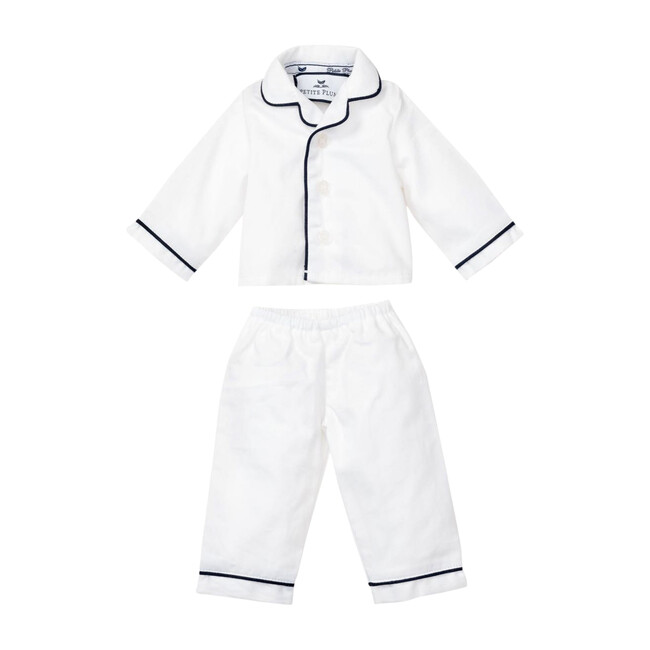 White Doll Pajamas with Navy Piping