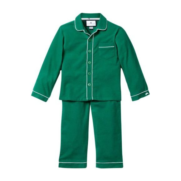 Forest Green Flannel Pajamas with Double Piping